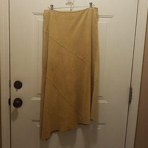 Suede asymmetrical skirt